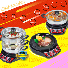 220V Electric Food Steamers Three-layer Multi-function Food Steamer Fry/Steam/Bake/Boil Machine