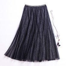 Las mujeres falda de tul Maxi plisado largo coreano falda brillante Bling Moda  Mujer 2019 elegante fiesta Offcie faldas princesa b04ffe306837
