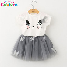 Keelorn Girls Dress 2017 Brand Kids Clothes White Cartoon Short Sleeve T-Shirt+Veil Dress 2Pcs baby girl clothes for 2-6Y(China)