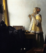 Young Woman with a Pearl Necklace by Johannes Vermeer TOP print ART oil painting work--good quality oil PAINTING(China)