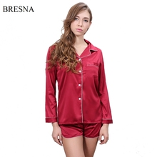 BRESNA Long Sleeve Tops and Shorts Sets Faux Silk Pajama Sets Women Turn Down Collar Stain Sleepwear Nightwear Casual Home Suit(China)