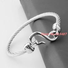 New Arrival 4mm 316L Stainless Steel Twisted Cable Wire Silver Cuff Chain Mens Womens Bracelets & Bangles Jewelry Good Gift(China)