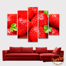 5 Panel Strawberry Canvas Painting HD Print Fruit Pictures Red Painting for Dining Room Home Wall Decorative Paintings Unframed