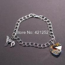 20pcs/lot Twilight Breaking Dawn: Bella's Wolf & Heart Bracelet Prop Replica Jewelry in silver