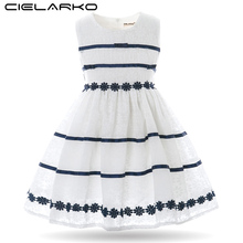 Cielarko Girl Dresses Cotton Striped Kids Dresses White Princess Children Party Frocks Baby Birthday Clothes for Girl
