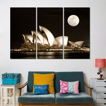 3 Pcs Modern City Sydney Opera House Decoration Dark Night Wall Art Pictures Black And White Moon Canvas Painting Living Room(China)