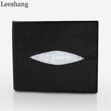 Leeshang 100% Genuine Small Particles Stingray Skin Short Purse Wallet Real Stingray Leather Women's Men's Bifold Short Wallets(China)