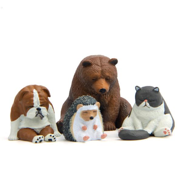 Cute Lazy Sitting Pets Animals Bear Cat Dog Hedgehog Lifelike pvc toys fridge magnets - 5