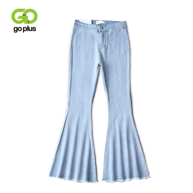 GOPLUS 2019 Autumn Winter High Waist Flare Pants Boyfriend Jeans For Women Bell Bottom Denim Ladies Skinny Jeans Female Pants