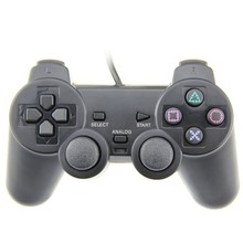 NEW Original Black wired Dual Vibration Controller Gamepad for Sony Playstation 2 PS2 Controller shock 2 Joystick Console