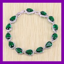 Reginababy Water Drop Green created Emerald Bracelet White Gold color Crystal Women Wedding Jewelry