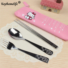 Cartoon Hello kitty Dinnerware set for Kids Tableware 3pcs/set Stainless Steel Travel Tableware 2C(China)