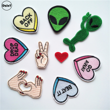 1 PCS Finger parches Embroidered Iron on Patches for Clothing DIY Stripes Alien Clothes Stickers Custom Heart Badges @D(China)