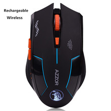 Azzor 2.4G Wireless Laser Gaming Gamer Mouse Rechargeable Battery Built-in 6 Botton Mute Silence Key notebook computer 2400DPI(China)