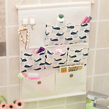 41*35cm Wall Hanging Storage Bag Cotton&Linen Art Makeup Cosmetic Sundries Organiser Foldable Storage Pocket(China)