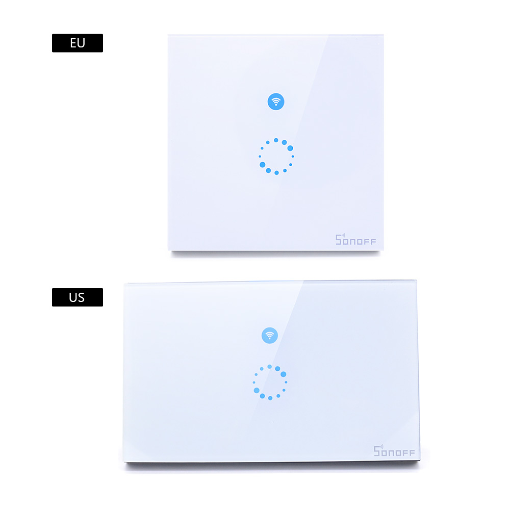 Sonoff touch us eu plug wall wifi light switch glass panel touch led lights switch for smart home wireless remote switch control