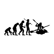 12.4*4.7CM Personalized Custom Car Decals Human Evolution Kayaking Cartoon Motorcycle Vinyl Stickers Black/Silver C7-0389