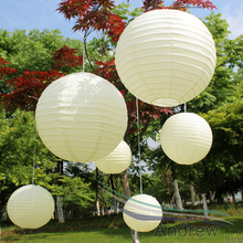 High Quality ivory color Paper Lanterns 7pcs/lot Mixed Sizes(4-16inch)Chinese paper Ball/Balloon wedding decorations Kids Gift
