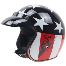 Motorcycle Vintage Helmet DOT Standard 3/4 half helmet Motocross Open Face Safe Riding Scooter Headpiece with Visor M L XL