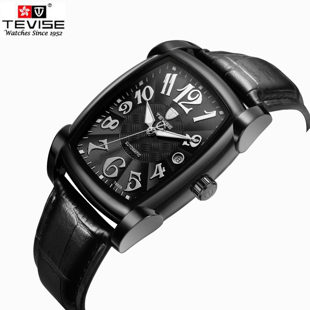 TEVISE Self Wind Automatic Wristwatch Retro Rectangle Black Leather Men Casual Watch Mens Luxury Brand  Mechanical Watch Clock<br>