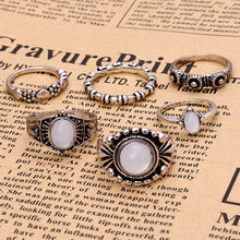 6PC\SET Bohemia Vintage Rings Set Opal Stone Ethnic Carving Tibetan Antique Silver Color Ring for Women Boho Beach Jewelry