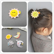 1 PCS 2017 New Fashion Sun And Moon Rainbow Clouds Hairpins Girls Hair Accessories Children Headwear Baby Hair Clips Headdress(China)