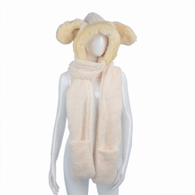 Cute Scarf Soft Winter Warm Hoodie Gloves Pocket Hat Women Girl Rabbit Faux Fur