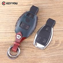 KEYYOU Leather Cover Benz S SL ML SLK CLK E Smart Key Car Key Shell 3 Buttons Mercedes Key Fob Remote Key Case Cover