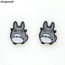 W4921 1pair harajuku women earings jewelry punk both side animal candy color totoro ear stud piercing earrings brincos bijoux(China)
