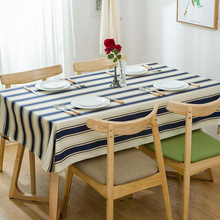 High Quality Modern minimalist cotton thick canvas tablecloth blue striped table cloth