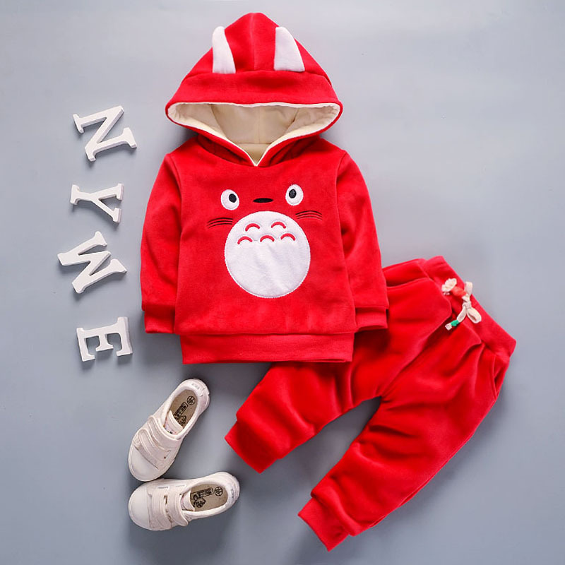 Boys Winter Clothes Sets 2017 New  Leisure Baby Cashmere Thickened Zipper Hooded Hoodies + Pants Outfits Children Bebes Clothing<br>