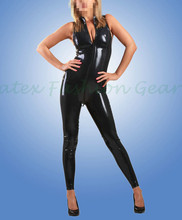 Buy BLack Latex Catsuit front Zipper Sleeveless Rubber bodysuit Jumpsuit overall zentai tights bodysuits