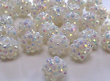 White 10MM Resin Hot factory price Shamballa Beads,Ball Beads for Bracelet Necklace DIY Basketball Wives JewelryJewelry