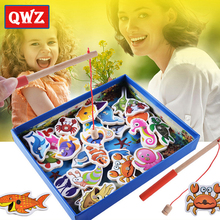 QWZ Baby Educational Toys 32Pcs Fish Wooden Magnetic Fishing Toy Set Fish Game Educational Fishing Toy Child Birthday Gift
