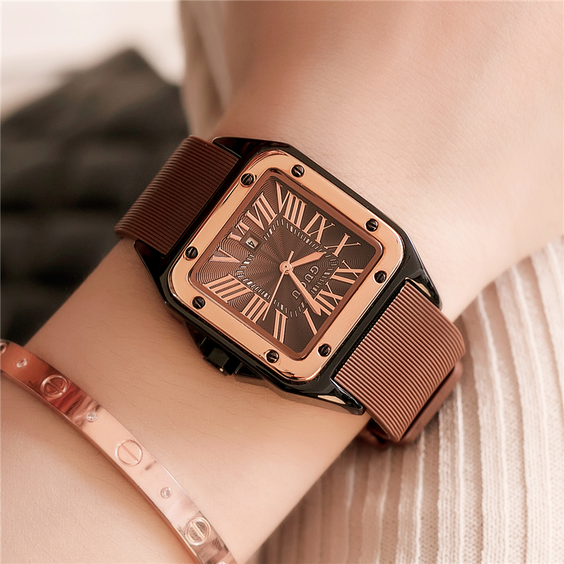 GUOU Square Women Watch 2017 Luxury Brand Vintage Roman Numeral Ladies Watches Silicone Watchband Women Clock <br>