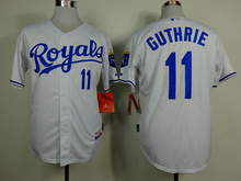 MLB Men's Kansas City Royals jersey Guthrie 11# White Baseball Jerseys Home Cool Base Player Jersey(China)