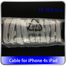 Wholesale 10PCS/Lot 30-Pin USB Cable For iPhone 4s High Quality 1m  Data Sync Charger Cabo For iPhone 4 3G 3S iPad 3 2 trackable