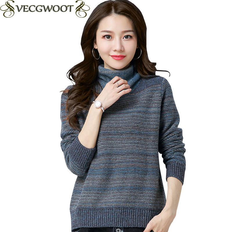 High collar Sweater Female Pullover Knitted 2019 New Autumn/Winter Sweater Inner wear Women Fashion Loose Short Sweater X1838