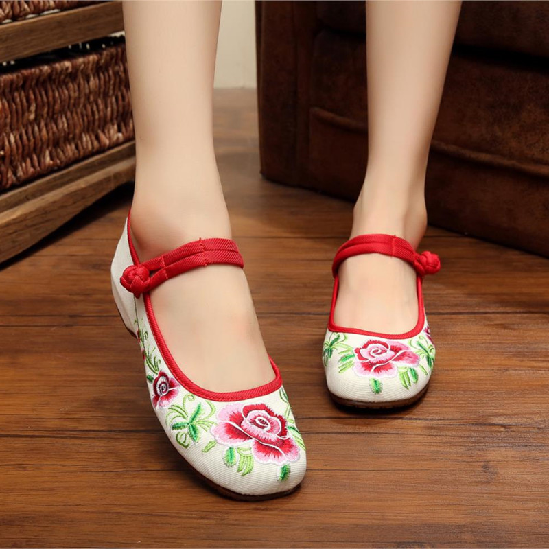 2015 Fashion Womens Shoes Increased within Peony Old Peking Mary Jane Flat Heel Demin Flats with Embroidery Soft Sole Shoes<br><br>Aliexpress