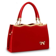Spring Fashion Bowknot Women Leather Handbag Totes Fashion Korean Style Candy Color Female Hand Bags Designer Red Ladies Purse