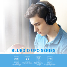 Original Bluedio UFO Plus High-End bluetooth headphone wireless headphones PPS12 drivers Headband with microphone music headset(China)