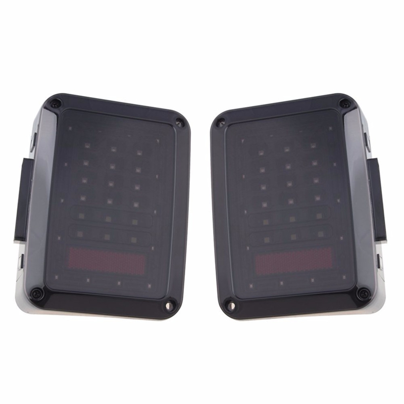 2x Smoked LED Tail Lights for 2007-2015 Jeep Wrangler Tail Light Brake Reverse<br>