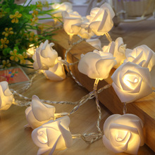 Artificial Rose Flower Festoon LED Lights 20 Leds String Lights Christmas Indoor Decorations For Home Valentines Fairy Light(China)