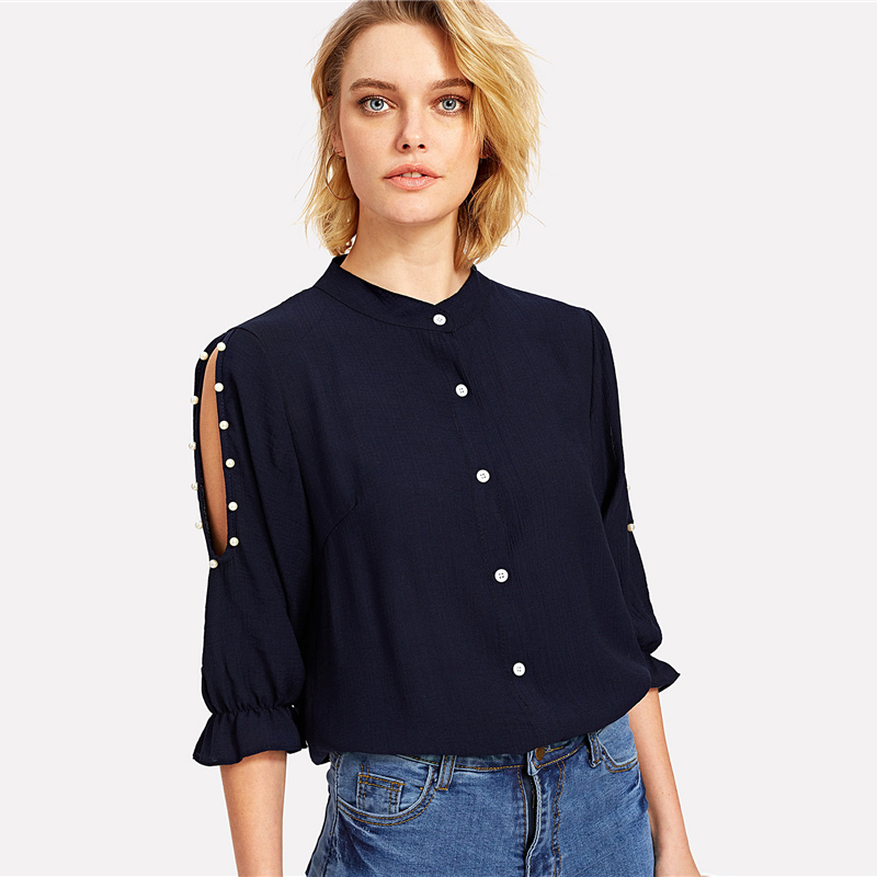 COLROVIE 2018 Spring Stand Collar Pearl Beading Blouse Women 3/4 Sleeve Split Shoulder Plain Top Navy Casual Button Shirt 6