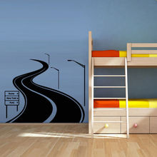 Wall Decal Road Track Car Band Traffic Sign Nursery Kids Gift free shipping