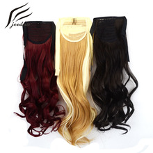 jeedou Wavy Synthetic Hair 22inch 55cm 80g Ribbon Ponytail Hair Extensions Black Brown Naturl Color Cosplay Ponytails