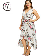 GIYI Plus Size 5XL 4XL Floral Print Chiffon Beach Maxi Long Dress Summer Women Clothes Sexy V Neck Boho Wrap Tank Dress Sundress(China)