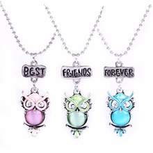 3 in set kids baby children lovely party accessories owl animal girl boy necklace friends buds Jewelry fashion 7609(China)