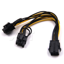 newest 6pin PCI Express to 2 x PCIe 8 (6+2) pin Motherboard Graphics Video Card PCI-e GPU VGA Splitter Hub Power Cable 6 inch