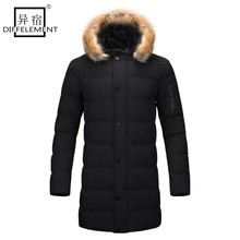 DIFFELEMENT 2017 New style long Coat Men brand clothing fashion Long Jackets Coats brand-clothing mens Overcoat Fur collar Coat
